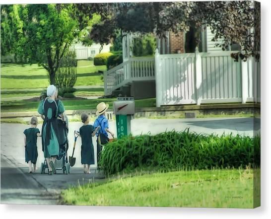 Little Amish Gardeners Canvas Print