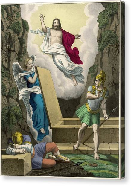 Resurrected Canvas Print - An Angel Lifts The Slab  Covering by Mary Evans Picture Library