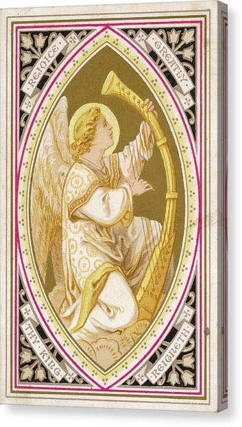 An Angel Plays A Harp          Date Canvas Print by Mary Evans Picture Library