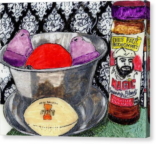An Apple Purple Peeps And Paul Prudhomme Canvas Print
