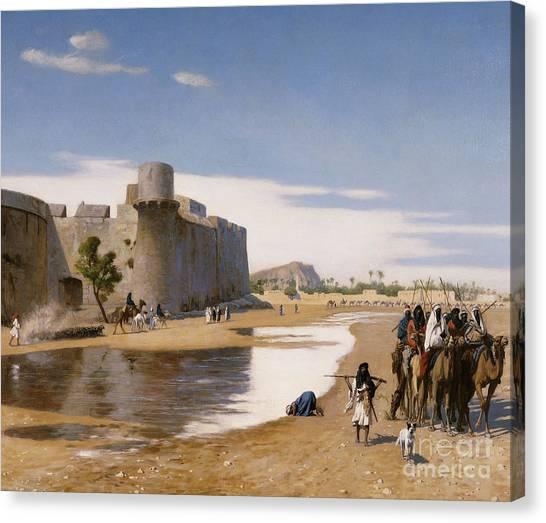 Academic Art Canvas Print - An Arab Caravan Outside A Fortified Town by Jean Leon Gerome