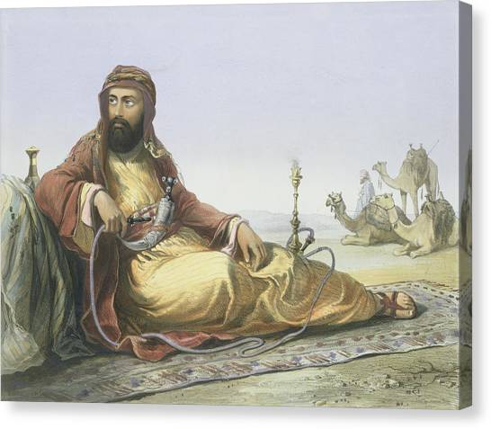 Camels Canvas Print - An Arab Resting In The Desert, Title by Emile Prisse d'Avennes