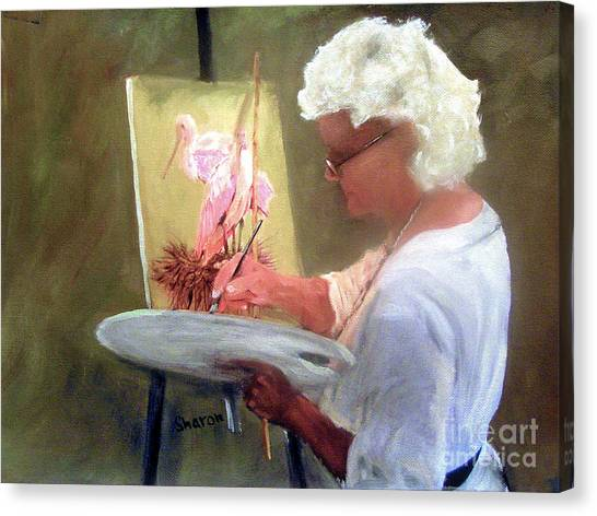 An Artist At Work Canvas Print by Sharon Burger