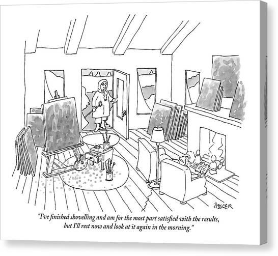 Shovels Canvas Print - An Artist Holding A Shovel Opens The Door by Jack Ziegler