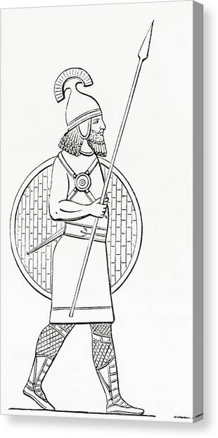 Protective Clothing Canvas Print - An Assyrian Spearman.  From The Imperial Bible Dictionary, Published 1889 by Bridgeman Images