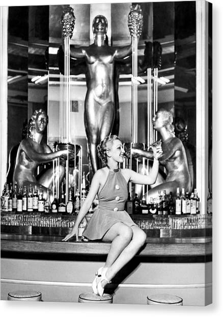 Bare Shoulder Canvas Print - Sexy Woman On The Bar by Underwood Archives