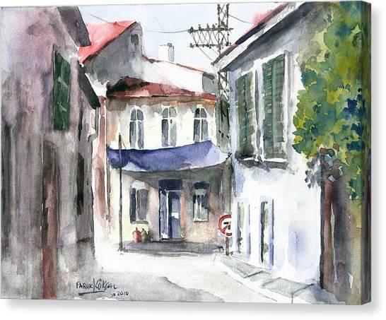 An Authentic Street In Urla - Izmir Canvas Print
