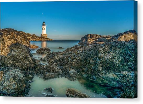 An Early Moon Over Fort Pickering Light Salem Ma Canvas Print