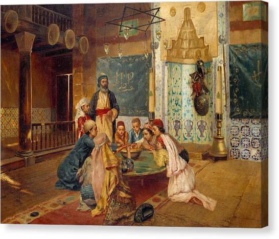 Gathered Canvas Print - An Eastern Meal by Rudolphe Ernst