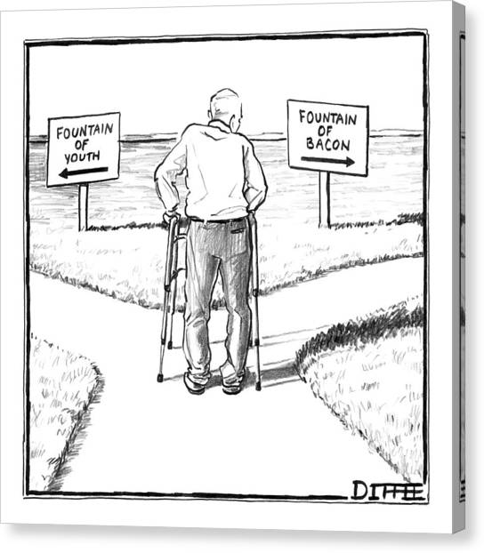 Bacon Canvas Print - An Elderly Man Is Seen Standing Next To Two Arrow by Matthew Diffee
