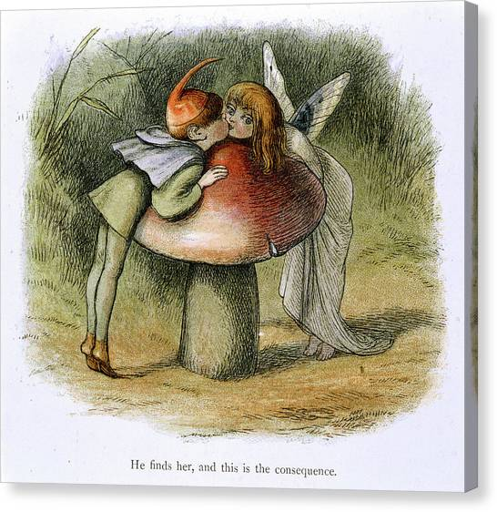 Mythological Creatures Canvas Print - An Elf And A Fairy Kissing by British Library