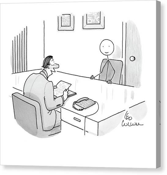 An Employer Interviews A Stick Figure Canvas Print