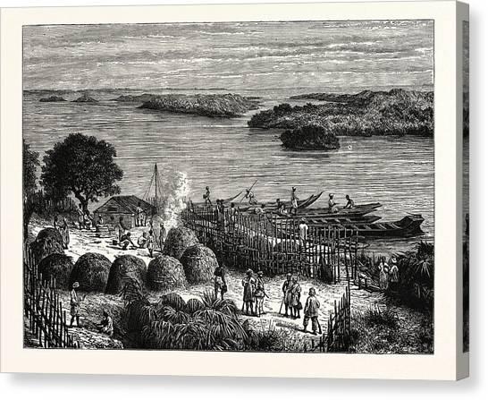 Congo River Canvas Print - An Encampment On The River Congo by Litz Collection