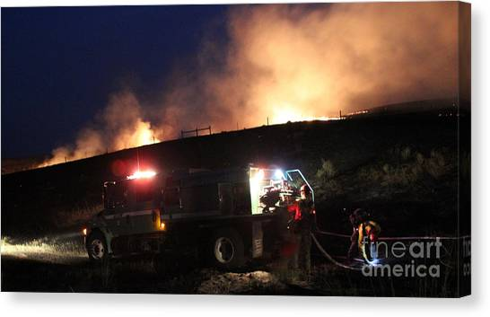 An Engine Crew Works At Night On White Draw Fire Canvas Print