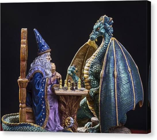 Dungeons Canvas Print - An Epic Chess Match by Bill Tiepelman