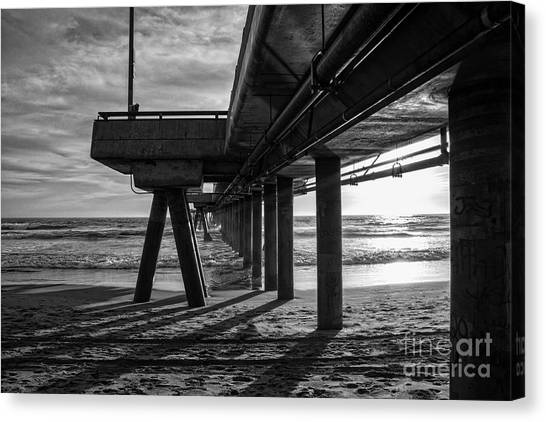 Venice Beach Canvas Print - An Evening At Venice Beach Pier by Ana V Ramirez