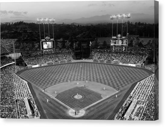 Los Angeles Dodgers Canvas Print - An Evening Game At Dodger Stadium by Mountain Dreams