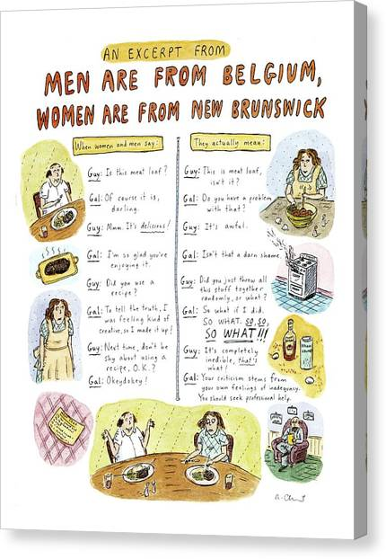 New Brunswick Canvas Print - An Excerpt From 'men Are From Belgium by Roz Chast