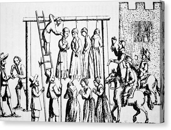 Rope Canvas Print - An Execution Of Witches In England by English School