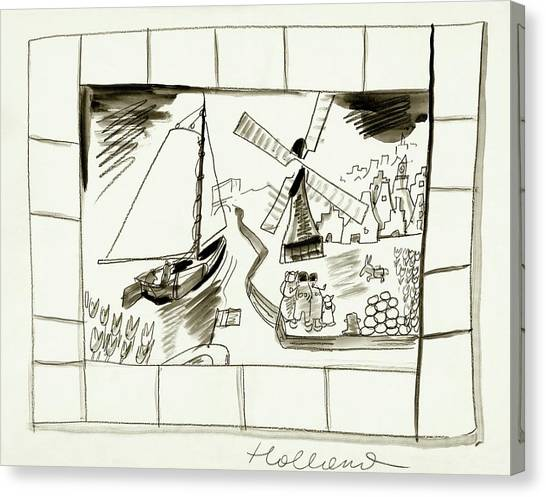 An Illustrated Depiction Of Holland Canvas Print by Ludwig Bemelmans