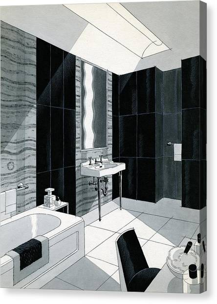 An Illustration Of A Bathroom Canvas Print