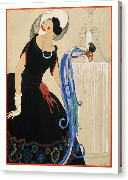 An Illustration Of A Young Woman For Vogue Canvas Print by Helen Dryden