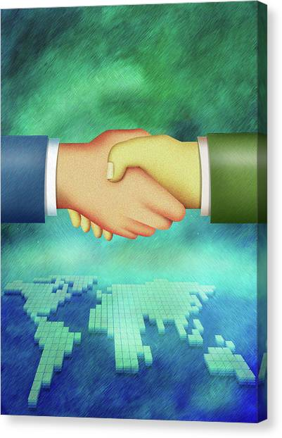 An Illustration Of Handshake Canvas Print by Visage