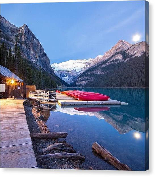 Victoria Falls Canvas Print - Lake Louise Moonset by Tiffany Wuest