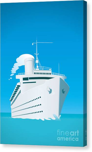 Shadow Canvas Print - An Image Of A White Cruise Ship And The by Markus Gann