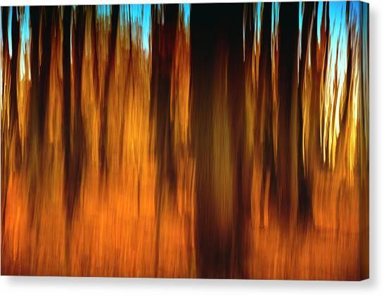 Indiana Autumn Canvas Print - An Impressionistic In-camera Blur by Rona Schwarz