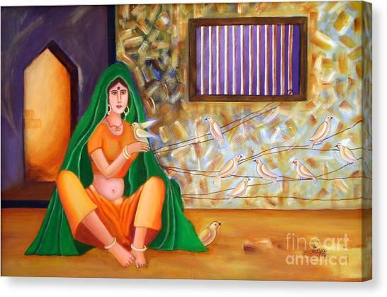 An Indian Village Woman Canvas Print by Divya Kakkar