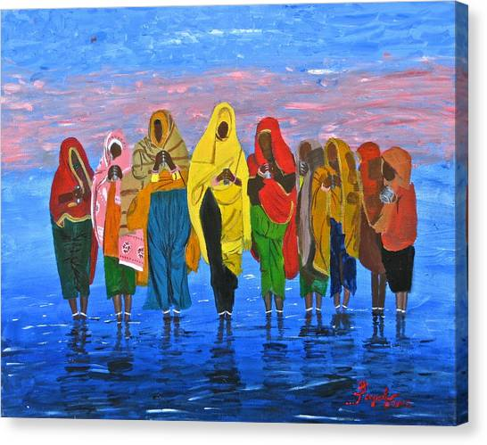 An Indian Water Prayer Ritual Canvas Print