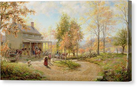 Post Falls Canvas Print - An October Day by Edward Lamson Henry