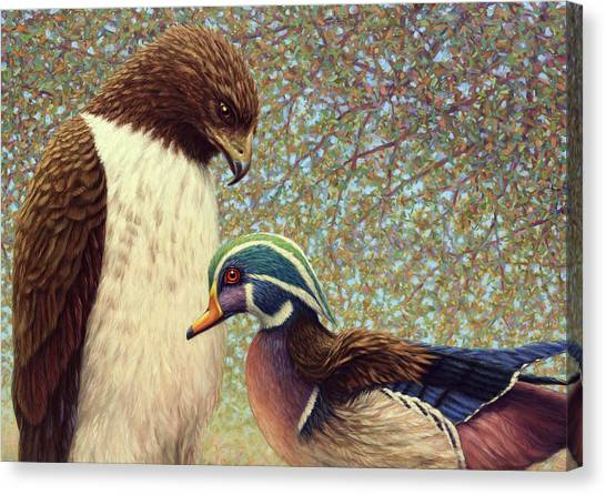 Ducks Canvas Print - An Odd Couple by James W Johnson