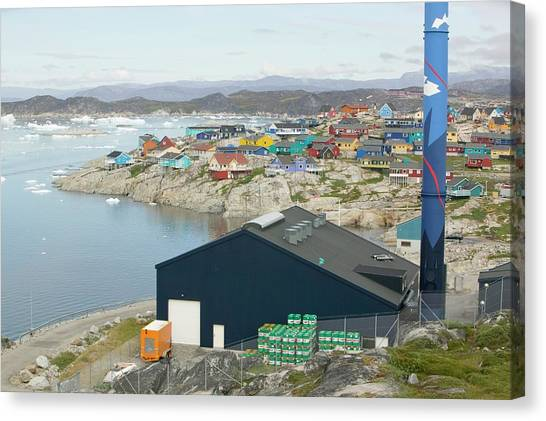 Greenland Canvas Print - An Oil Fired Power Plant In Ilulissat by Ashley Cooper
