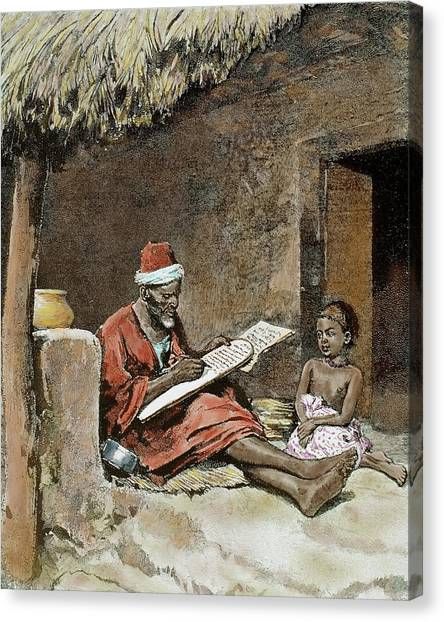 Prisma Colored Pencil Canvas Print - An Old Man Teach To Write A Child by Prisma Archivo