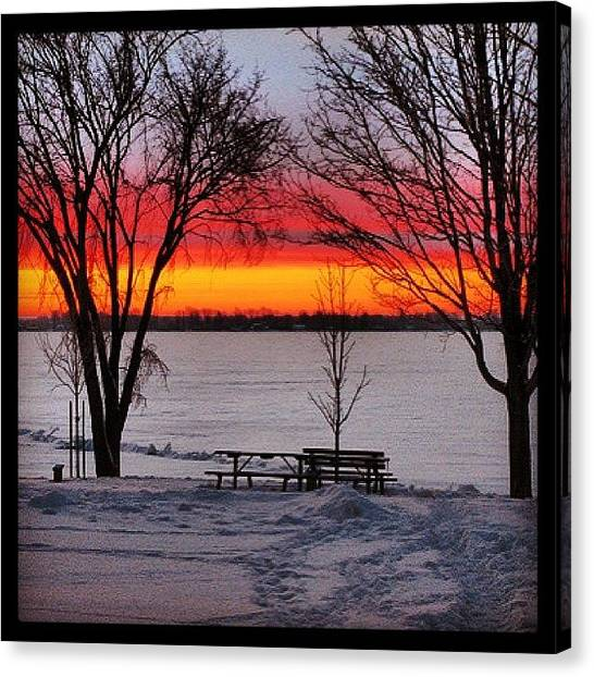 Lake Sunrises Canvas Print - An Old Photo From My Archives #kingston by Sharon Wilkinson