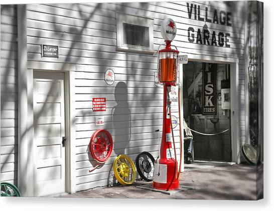 Repairs Canvas Print - An Old Village Gas Station by Mal Bray