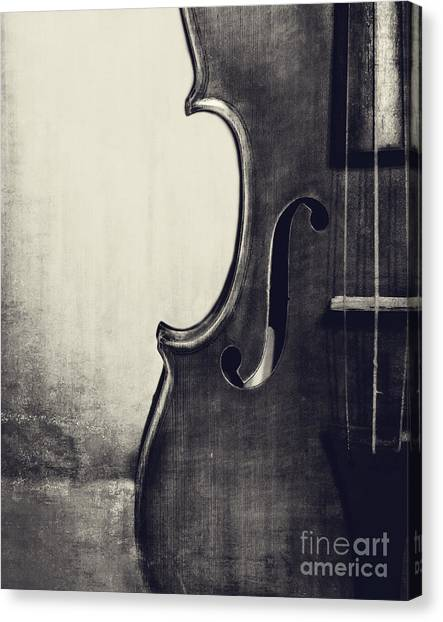 Violins Canvas Print - An Old Violin In Black And White by Emily Kay