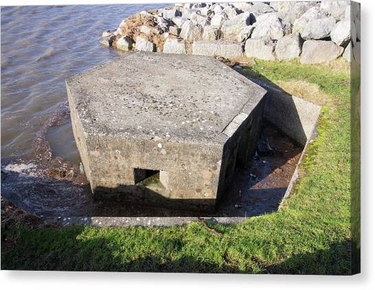 Bund Canvas Print - An Old World War Two Pill Box Flooded by Ashley Cooper