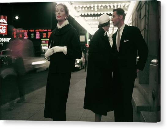 Hyde Park Canvas Print - An Outtake Of Models Outside Of A Theatre by Sy Kattelson