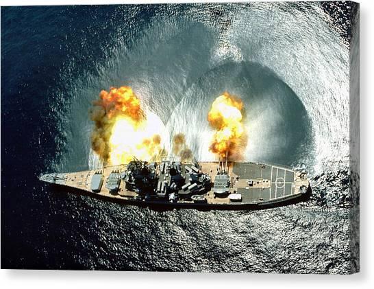 An Overhead View Of The Battleship Uss Iowa Bb61 Firing All 15 Of Its Guns Canvas Print