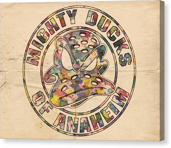 Anaheim Ducks Canvas Print - Anaheim Mighty Ducks Vintage Poster by Florian Rodarte