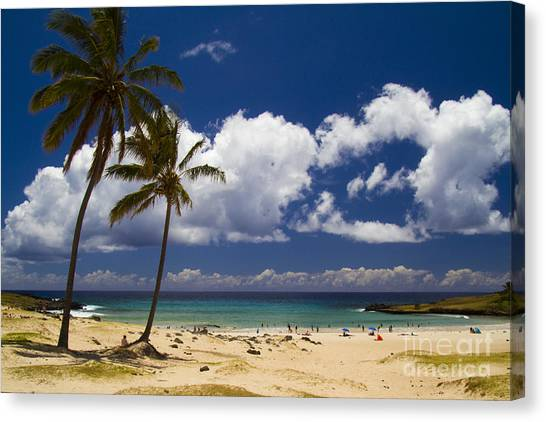 Easter Island Canvas Print - Anakena Beach On Easter Island by David Smith