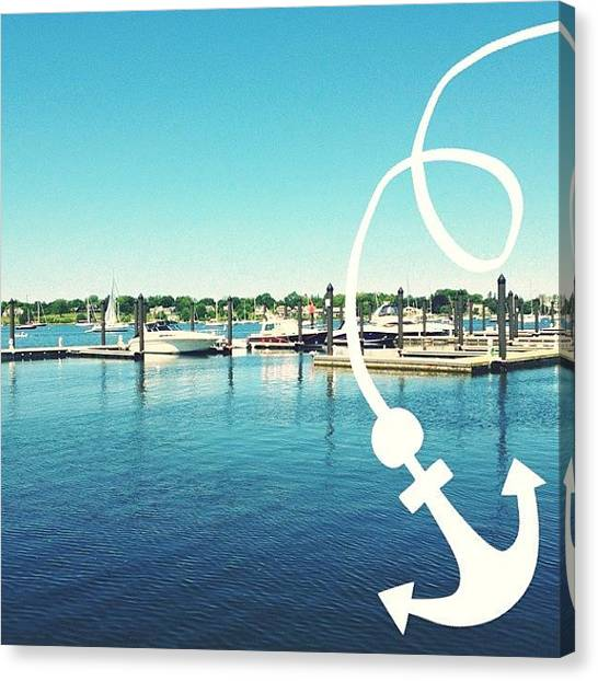 Rhode Island Canvas Print - Anchor And Boats by Ashley Morton