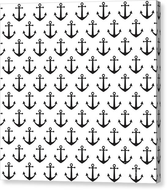Navy Canvas Print - Anchor Pattern Background by Hellena13