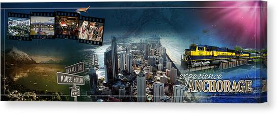 Dog Running Canvas Print - Anchorage Alaska Panoramic by Retro Images Archive