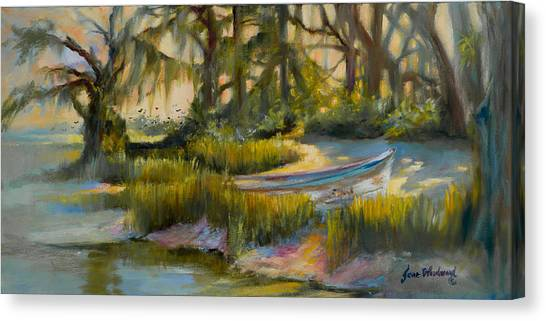 Canvas Print - Anchored In The Marsh by Jane Woodward