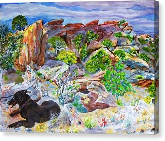 Ancient Camp Ground And Labrador Canvas Print by Annie Gibbons