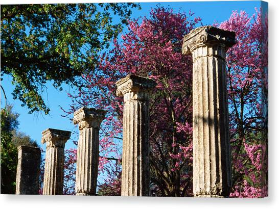 Ancient Columns At Ruins Of Olympia Canvas Print